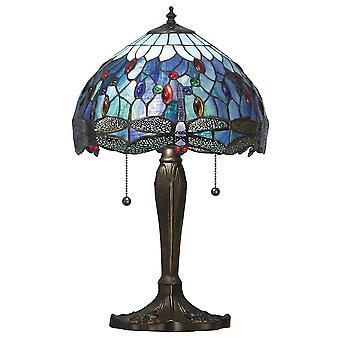 Dragonfly små Tiffany stil blå bordslampa - interiör 1900 64090