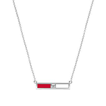 Detroit Redwings Diamond Bar Necklace In Red And White