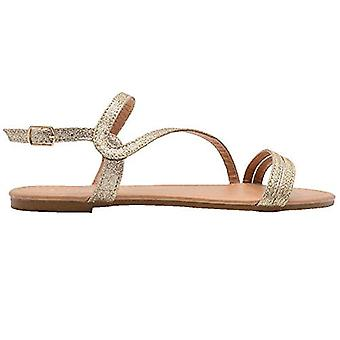 Gold Toe Ladies Fashion Sandals Glitter Slingback Strappy Summer Flats