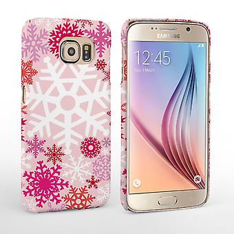 Caseflex Samsung Galaxy S6 Winter Christmas Snowflake Hard Case Red Pink