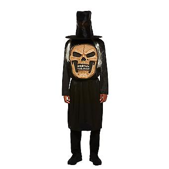 Mens Jumbo Skull Face Halloween Fancy Dress Costume (Medium)