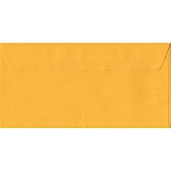 Enveloppes jaunes de couleur jaune Peel/hydraste DL. 100gsm FSC papier durable. 110 mm x 220 mm. enveloppe de Style portefeuille.