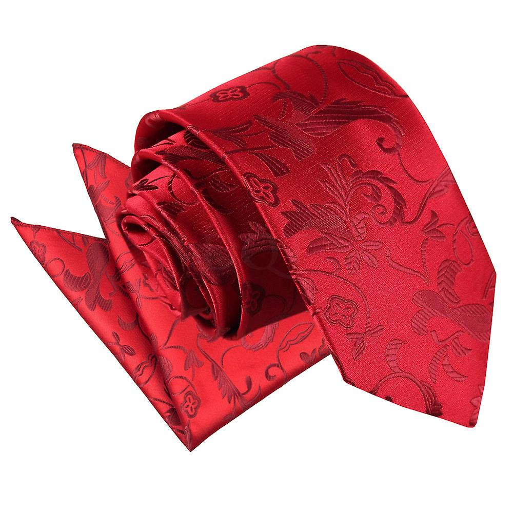 Burgundy Passion Floral Patterned Tie 2 pc. Set
