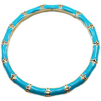 Kenneth Jay Lane Silver & Turquoise Blue Enamel Bamboo Bangle