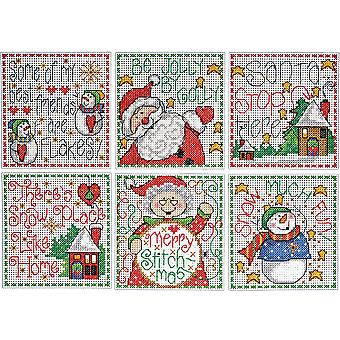 Merry Stitchmas Ornaments Counted Cross Stitch Kit-3.5