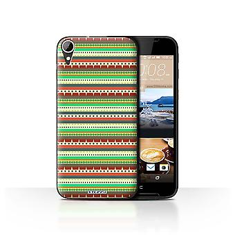 STUFF4 Case/Cover for HTC Desire 830/Green/Red/Aztec Tribal Pattern