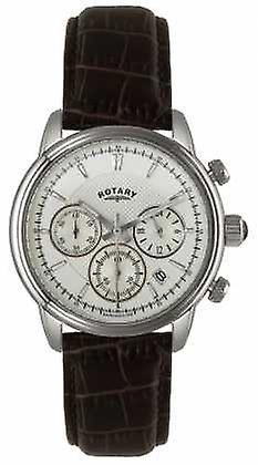 Roterende Mens rustfritt stål hvit ring svart skinn GS02876/06 Watch