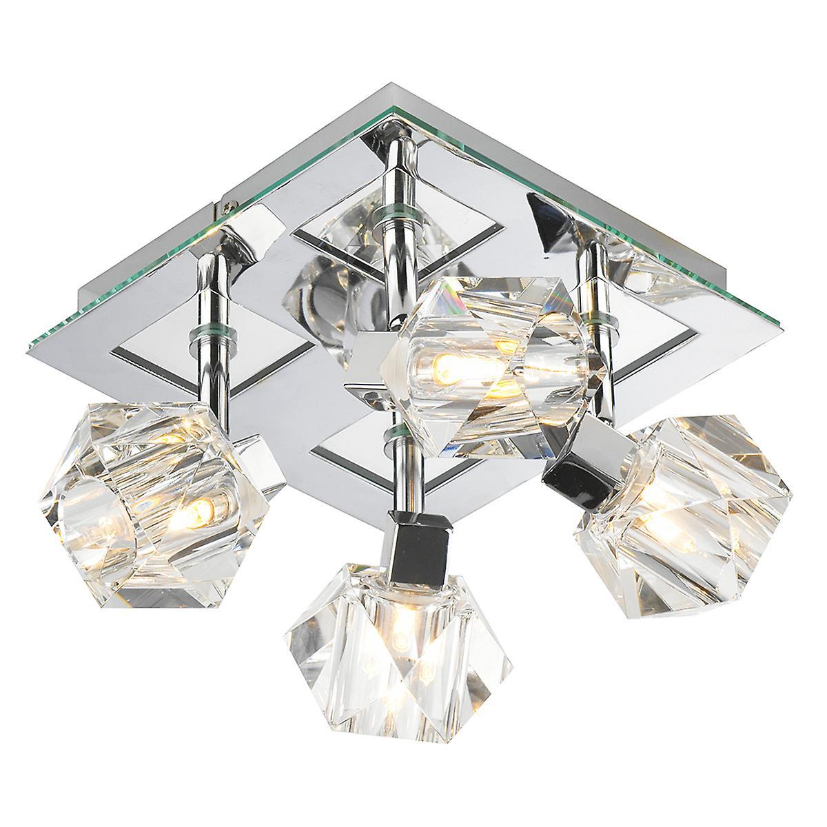 Dar GEO8550 Geo Square Halogen Flush Ceiling Light