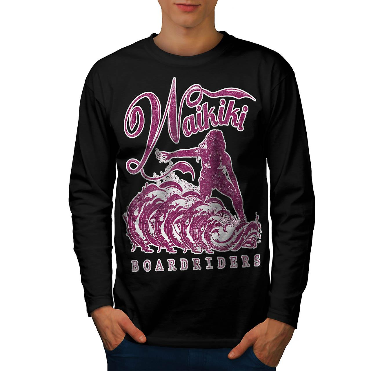 Surfing Hawaii USA Honolulu Surf Men Black Long Sleeve T-shirt | Wellcoda