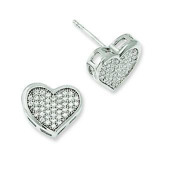 Sterling Silver Pave Rhodium-plated and Cubic Zirconia Brilliant Embers Heart Post Earrings