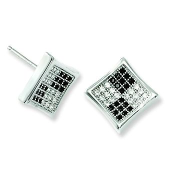Sterling Silver White and Black CZ Polished Post Earrings