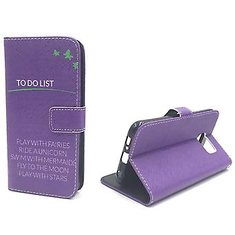 Mobile phone case pouch for mobile Samsung Galaxy S6 TO DO LIST purple