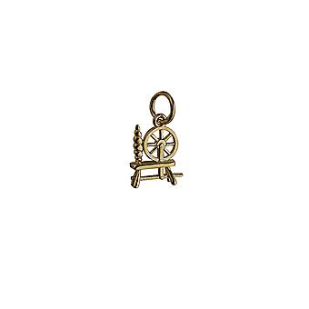9ct Gold 11x10mm Spinning Wheel Pendant or Charm