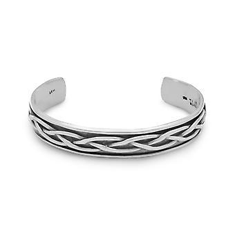 Oxidized Sterling Silver Braided Mens Cuff Bracelet