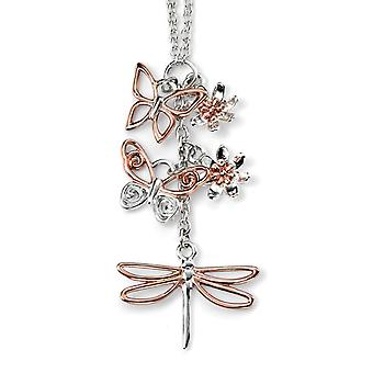 925 Silver Gold Plated Butterfly Necklace Trend