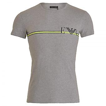 Emporio Armani Fancy Pop Line Stretch Cotton Crew Neck T-Shirt, Melange Grey, X Large