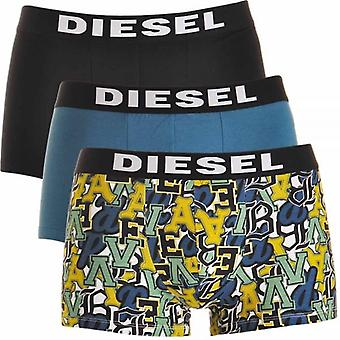 DIESEL 3-Pack Boxer Trunk UMBX-Shawn, Black / Blue / Graffiti Print, Large