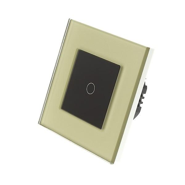 I LumoS Gold Glass Frame 1 Gang 1 Way Touch LED Light Switch Black Insert