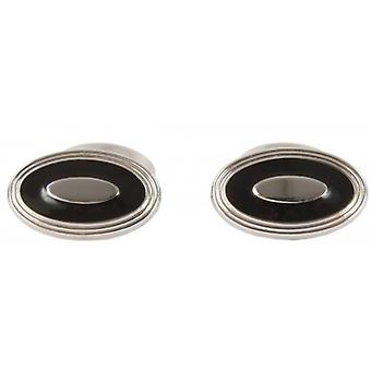 David Aster Oval Enamel Cufflinks - Black