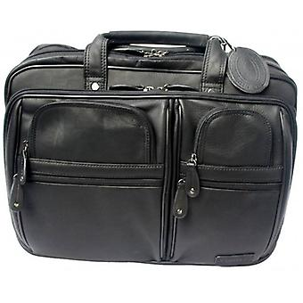 Cortez Leather Laptop Briefcase - Black