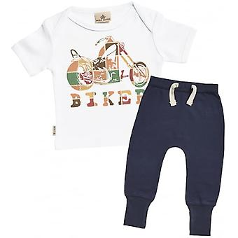 Verwend rotte Biker Baby T-Shirt & Marine Joggers Outfit Set
