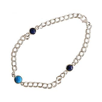 Women - bracelet - 925 Silver - and - turquoise - sapphire blue - chain - smooth
