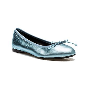 Saint Laurent Women's Leather Ballerina Flat Shoes Blue