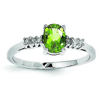 Sterling Silver Rhodium Peridot and Diamond Ring - Ring Size: 6 to 8
