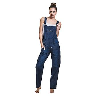 USKEES DAISY Women's Indigo Dungarees Relaxed fit Roll-up leg overalls