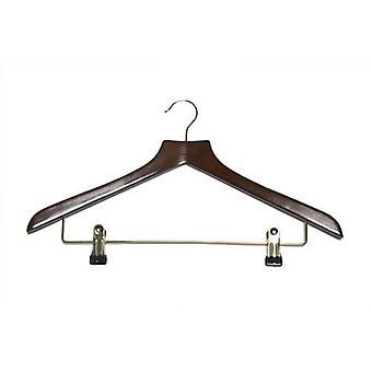 Caraselle Shaped Walnut Suit Hanger with Clips