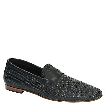 Men's blue navy woven leather penny loafers shoes