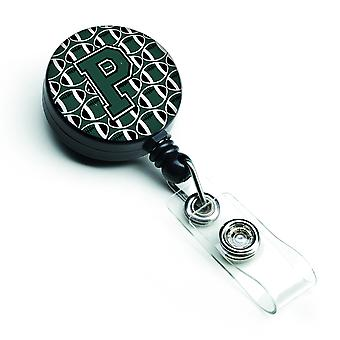 Letter P Football Green and White Retractable Badge Reel