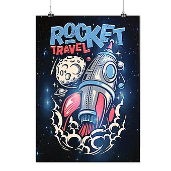 Matte or Glossy Poster with Rocket Travel Moon Space | Wellcoda | *d2750