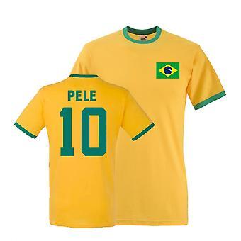 Pele Brasilien Ringer Tee (gelb)