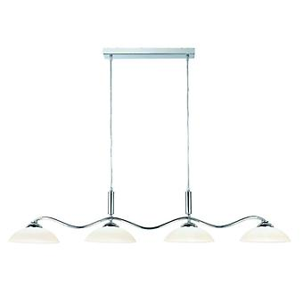 Chrome And Frosted Glass Four Light Waved Bar Pendant - Searchlight 6184-4cc