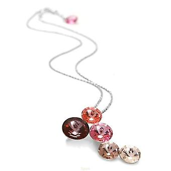 Spark Graduating Pink Crystal Circles Pendant Necklace 16