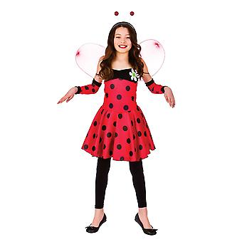 Lovely Ladybug Childrens Fancy Dress Costume Dress, Wings, Sleevelet & Antennae
