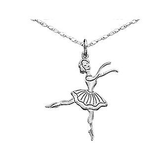 Ballerina Charm Pendant Necklace in Sterling Silver with Chain