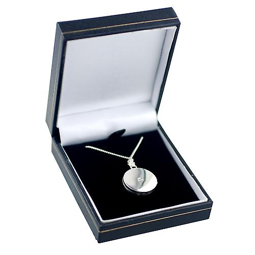 Silver 20mm engraved flat round Locket with a curb Chain 24 inches