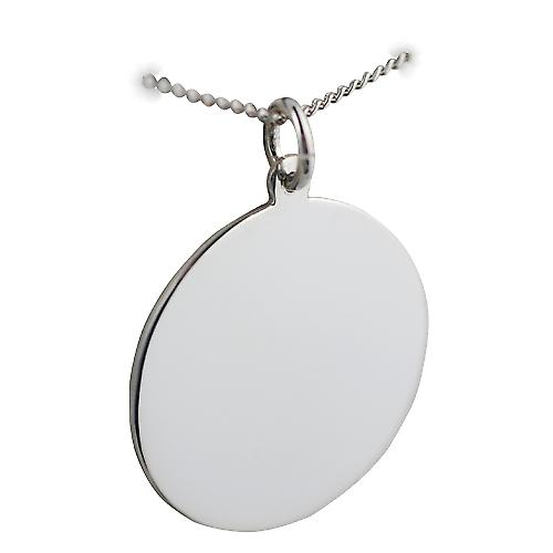 Silver 26mm round plain Disc with a curb Chain 18 inches
