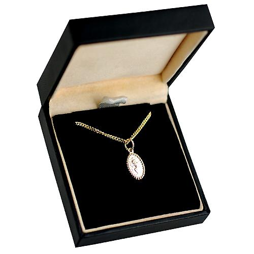 9ct Gold 13x8mm oval beaded edge St Christopher Pendant with a curb Chain 16 inches Only Suitable for Children