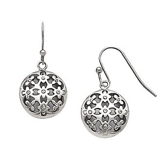 No Metal Stamp Stainless Steel White Synthetic Cubic Zirconia Filigree Circle Dangle Earrings