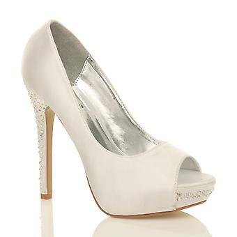 Ajvani Womens Hochzeit Braut high-Heel-Plattform Abschlussball Diamante Gericht Abend Schuhe pumps