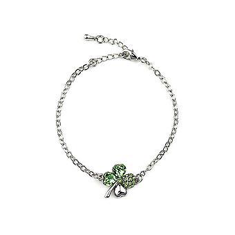 Armband mit Swarovski Crystal Clover Grün geschmückt