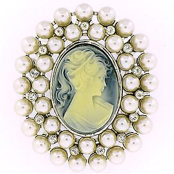 Store di spille perla, Crystal & argento Cameo Brooch