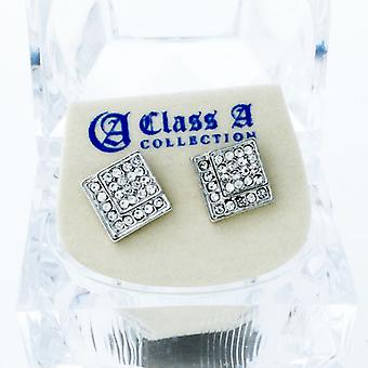 Bling iced out earrings - EDGED 10 mm