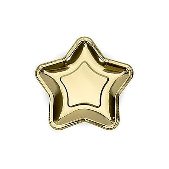 Gold Star Small Canape Paper Party Plates Set of 6 Party Wedding