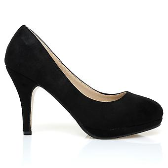 CHIP Black Faux Suede Leather Pumps Mid-High Heel Low Platform Court Shoes