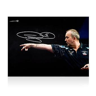 Phil Taylor Signed Darts Photo: Feel The Power