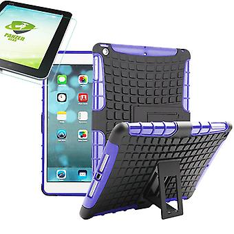 For Apple iPad 9.7 2018 hybrid outdoor protective case purple bag + 0.4 H9 tempered glass